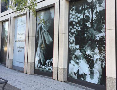 Digitaldruck von Folien für mehrere Schaufensterteile, die nebeneinander ein gesamtes Werbemotiv darstellen sollen.